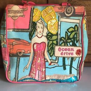 Handbags - Beaded & Sequined Graphic Bag